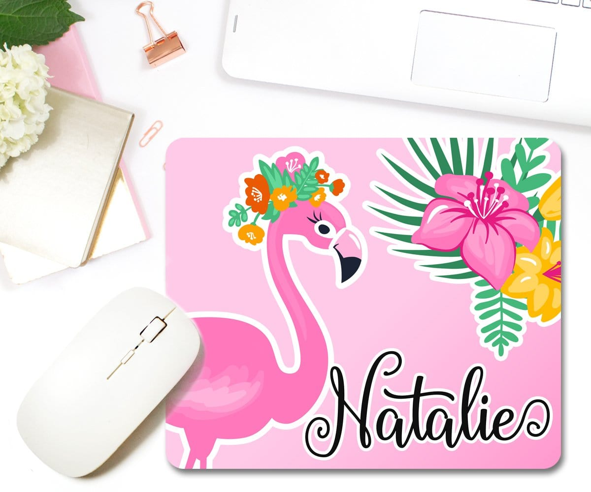Personalized Flamingo Tropical Mouse Pad