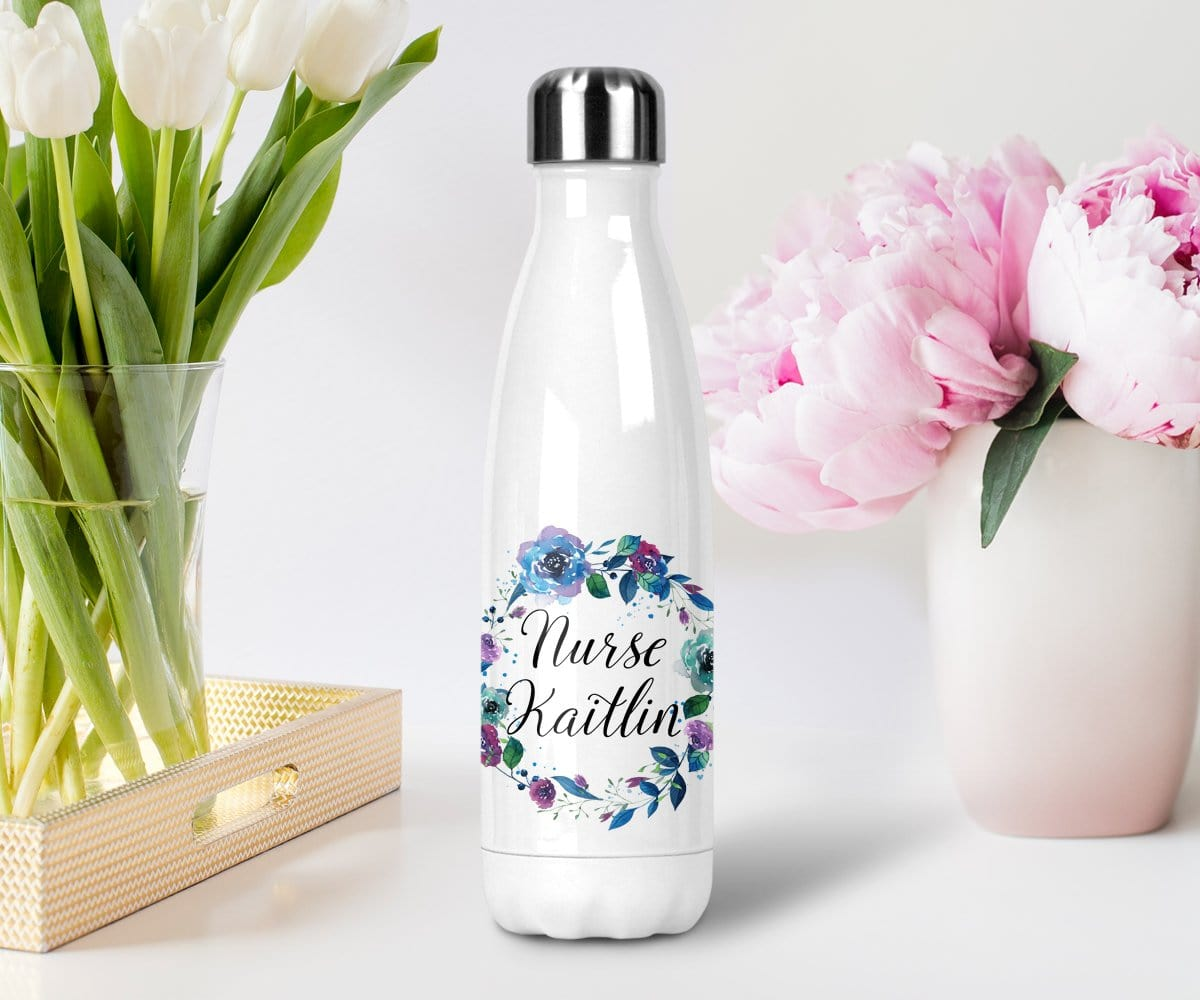personalized nurse gift stainless steel water bottle with lid