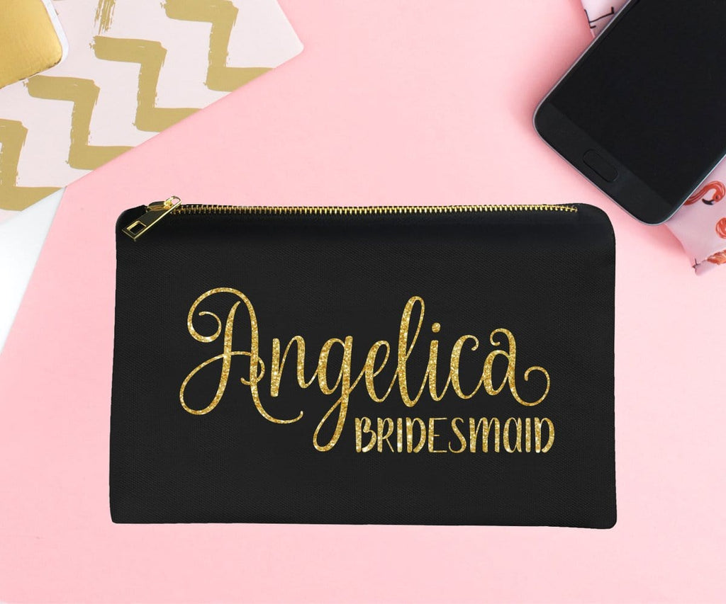 Bridesmaid Personalized Gold Glitter Make-Up Bag
