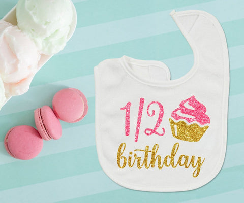 Half Birthday Girl Bib Outfit Cupcake Pink & Gold Glitter 6 Months Photo Prop