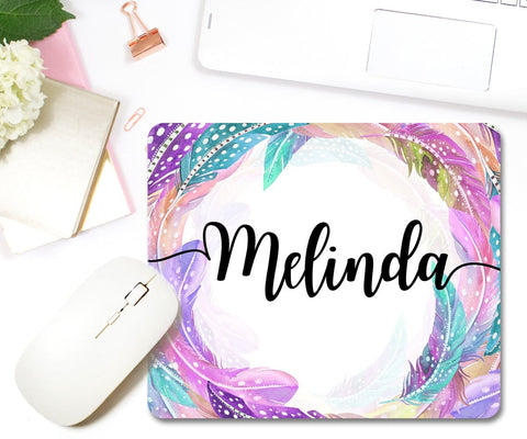 Personalized Boho Gaming Mouse Pad With Blue & Purple Feathers