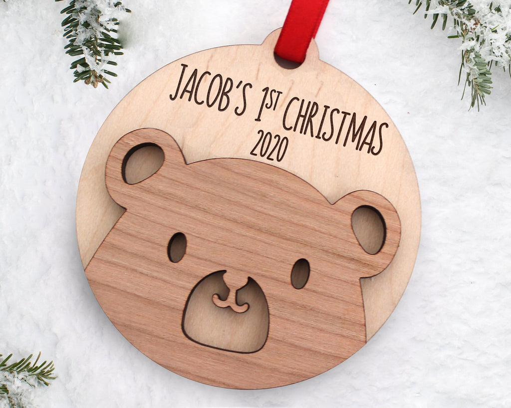 Engraved Baby Bear Christmas Ornament
