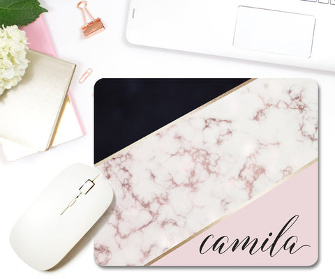 Blush Pink Marble Personalized Mouse Pad