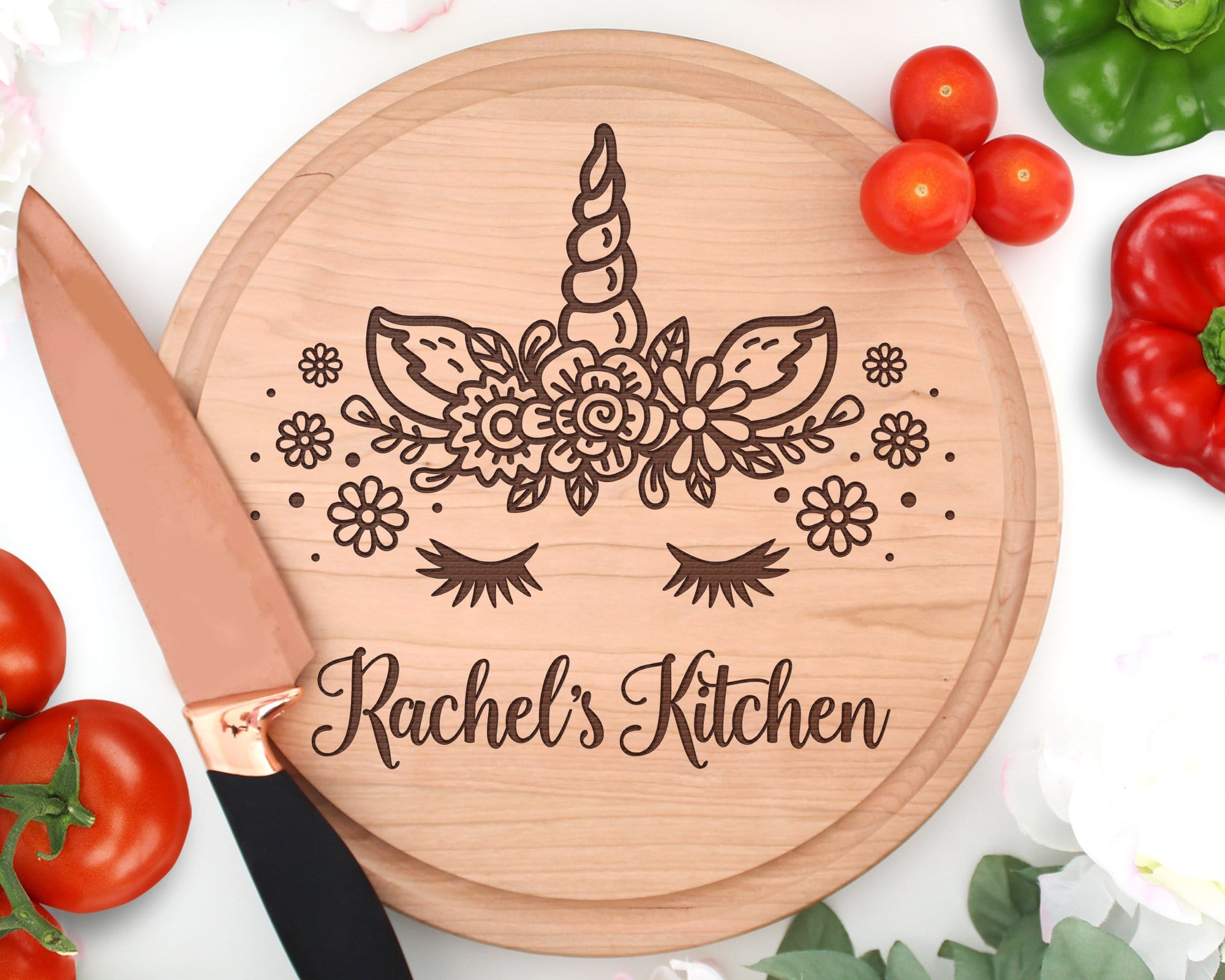 Unicorn Personalized Engraved Circle Cutting Board With Juice Groove