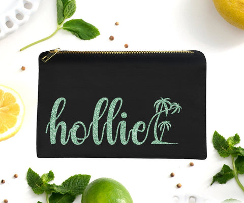 Personalized Palm Tree Tropical Glitter Makeup Bag