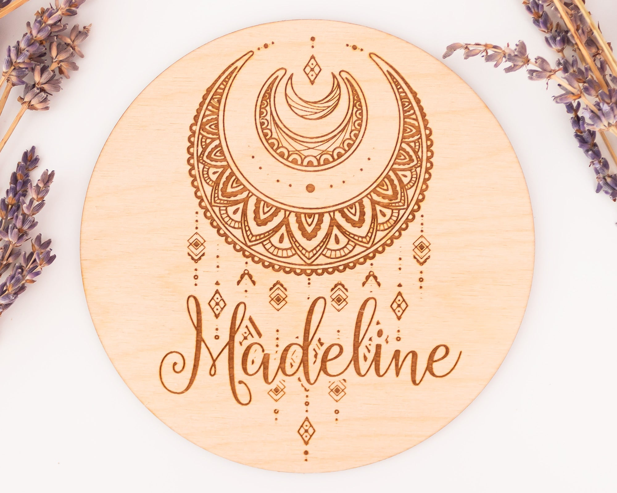 Boho Moon Birth Announcement Sign