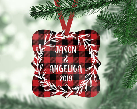 Personalized Couple Buffalo Plaid Christmas Ornament