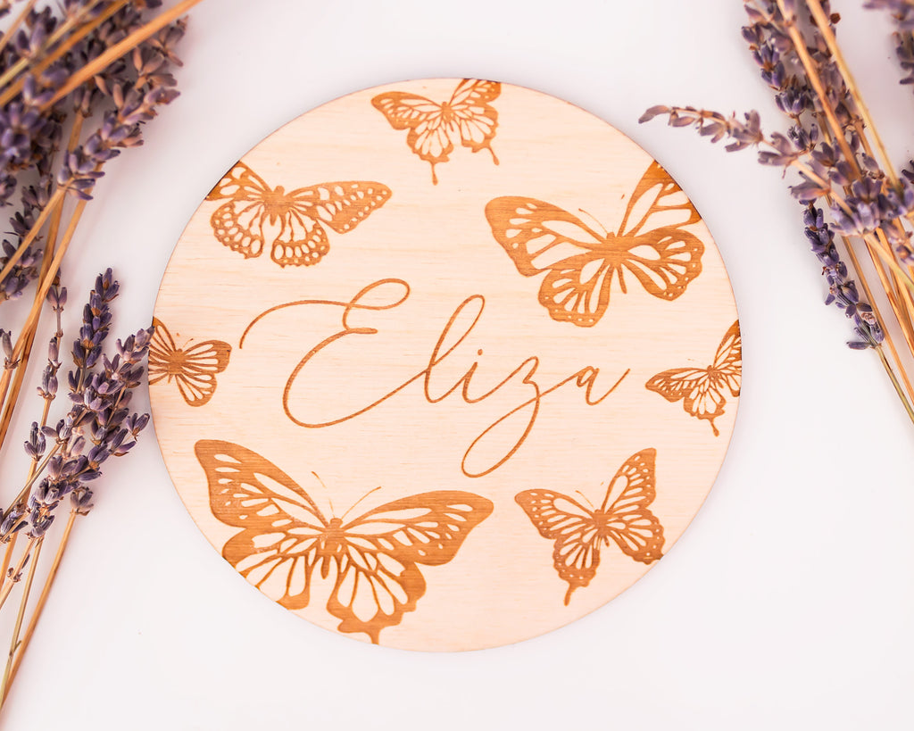 Butterflies Engraved Baby Announcement Sign