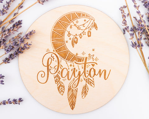Engraved Moon Boho Baby Sign