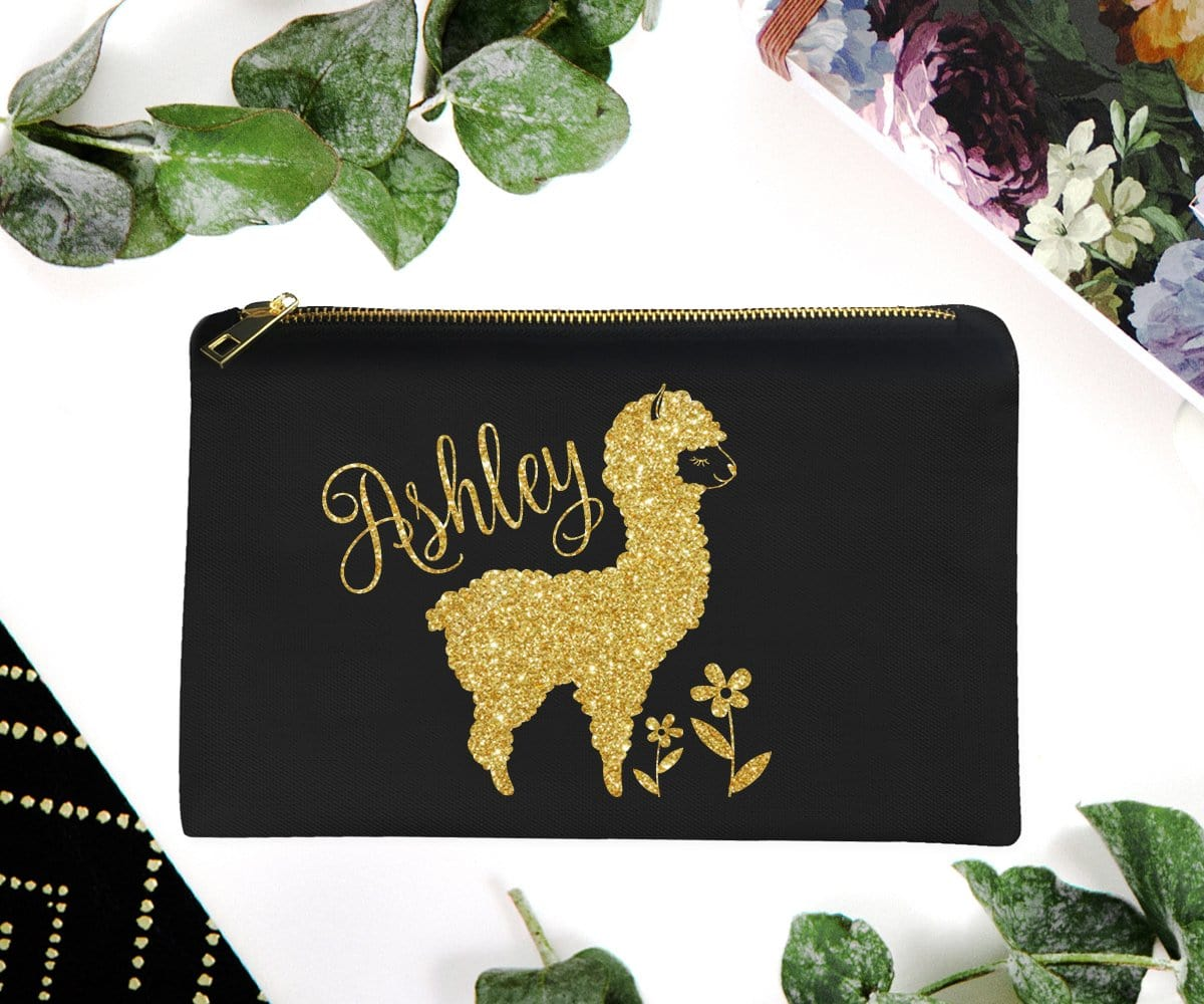 Llama Personalized Gold Glitter Makeup Bag Unique Gifts