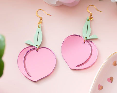 Peach Pink Mirror Acrylic Earrings