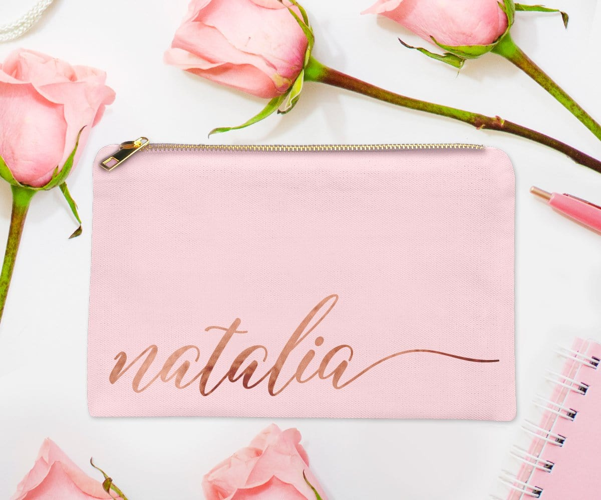Rose Gold Foil Personalized Pink Makeup Bag With Cursive Script