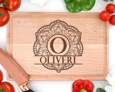 Personalized Engraved Wood Mandala Rectangle Cutting Board With Juice Groove
