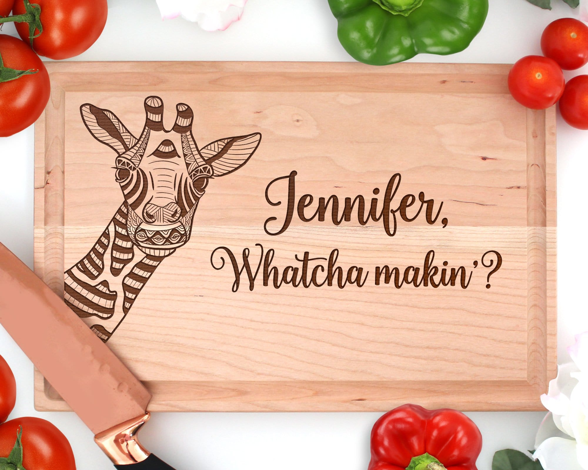 Personalized Giraffe Engraved Rectangle Wood Cutting Board
