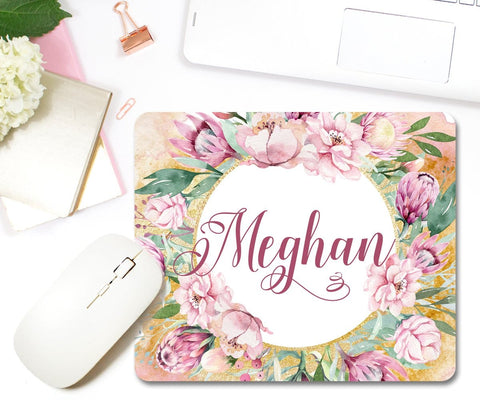 Personalized Mouse Pad Floral Pink & Faux Gold Foil
