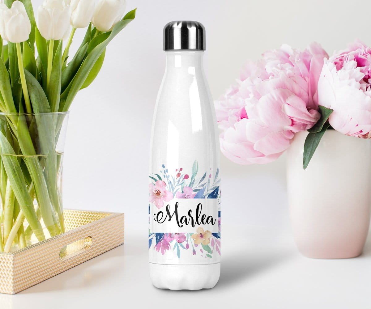 Custom Name Floral Watercolour Purple Water Bottle For Spring Wedding