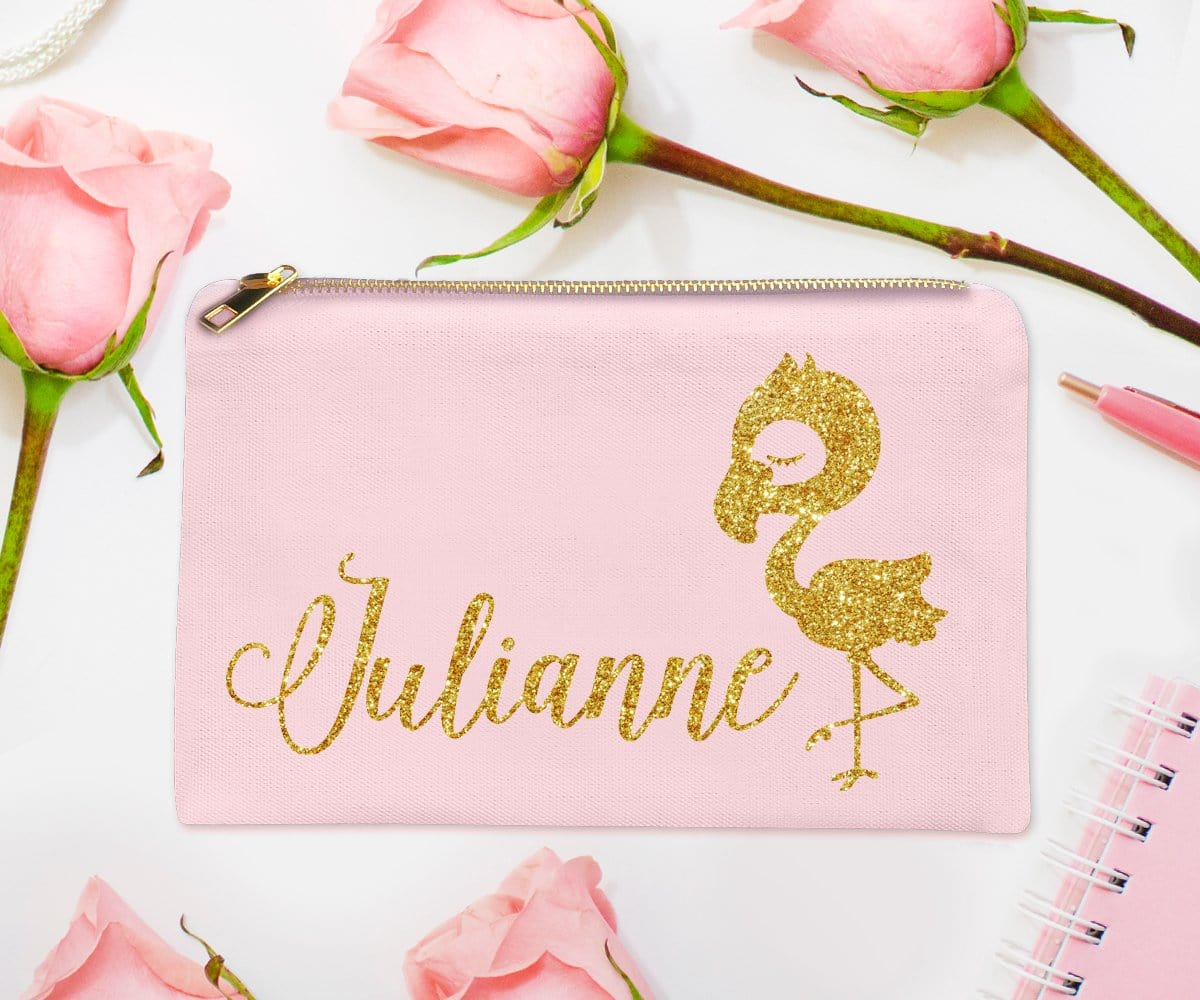 Flamingo Personalized Gold Glitter Makeup Bag