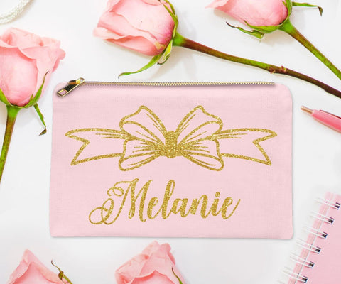 Glitter Bow Girly Personalized Makeup Bag Jr. Bridesmaid Gift