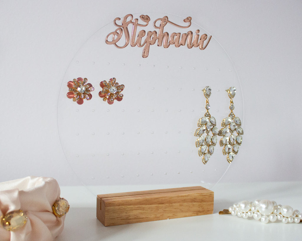 Personalized Acrylic Earring Display With Rose Gold Name