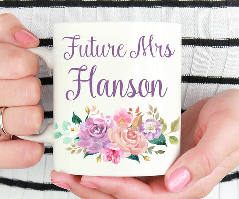 Personalized Future Mrs Floral Mug Engagement Gift