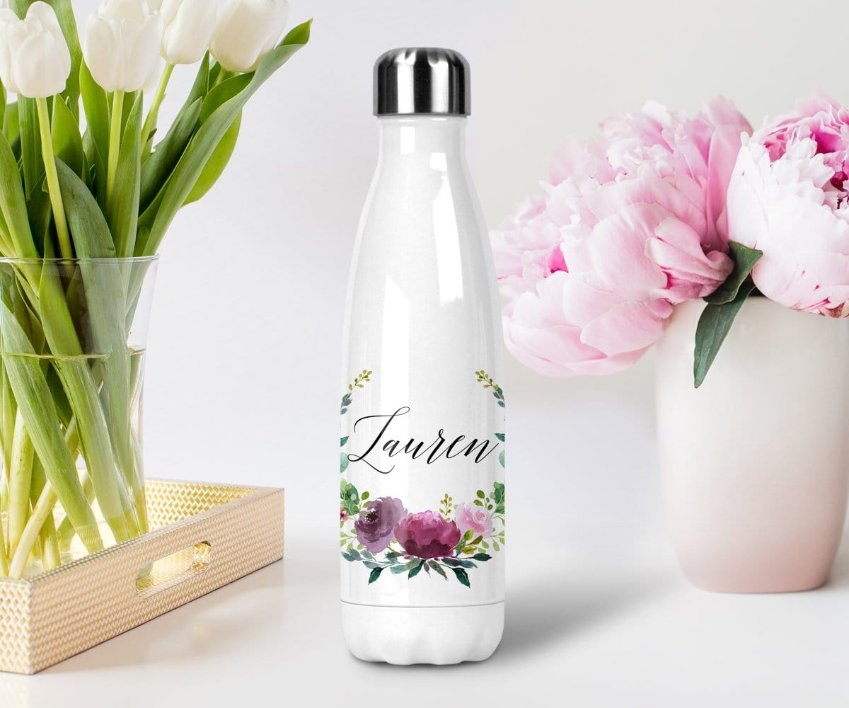 Personalized Purple Floral Watercolor Wreath Stainless Steel Water Bottle With Lid