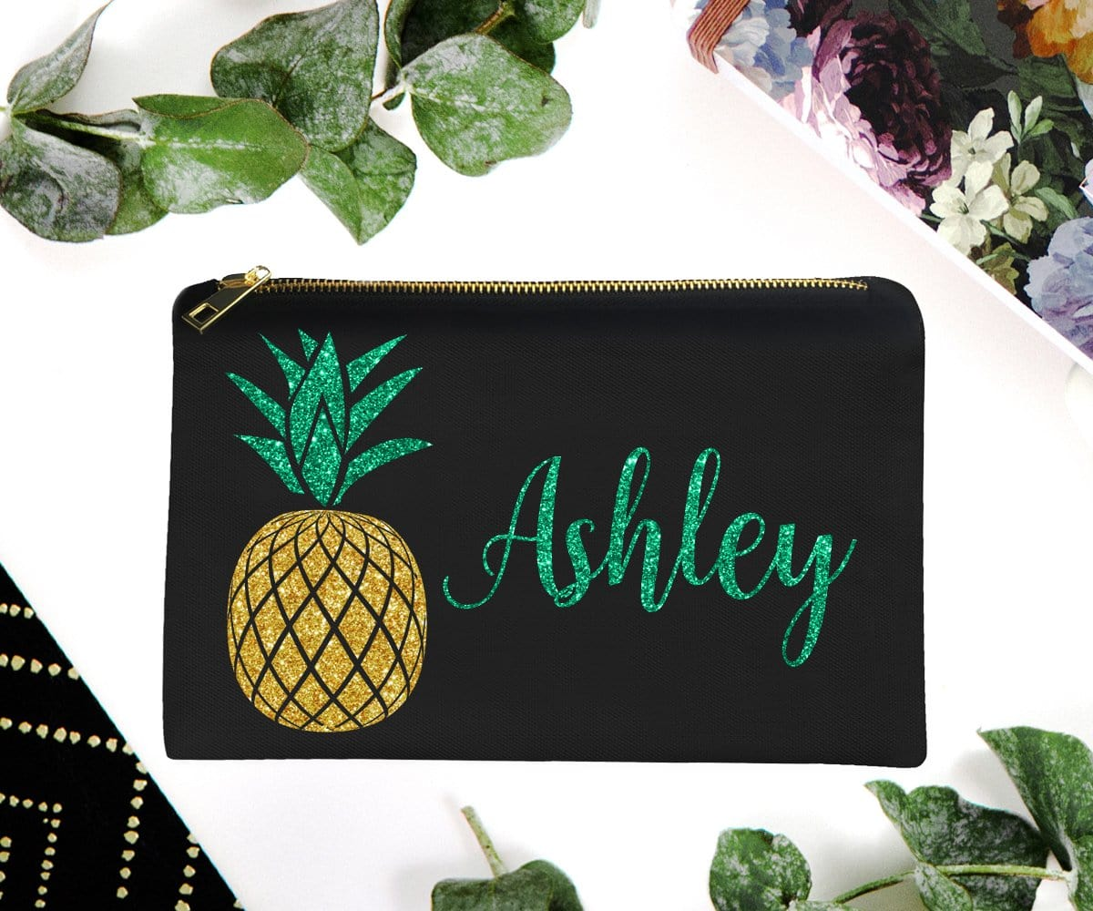 Pineapple Make-Up Bag With Glitter Personalized Name