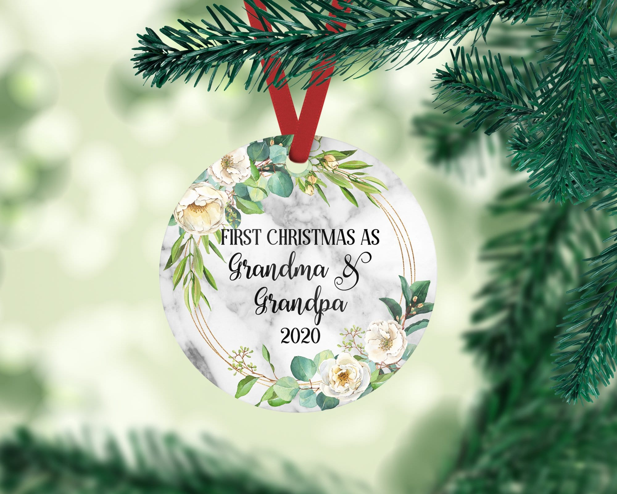 First Christmas as Grandma and Grandpa Round Ornament