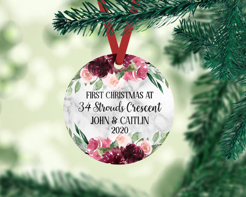 Custom First Christmas At Address New Home Round Ornament