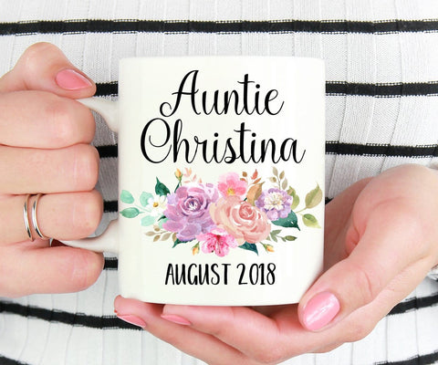 Personalized Auntie Pregnancy Reveal Mug