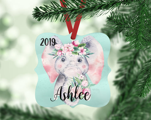 Personalized Elephant Christmas Ornament