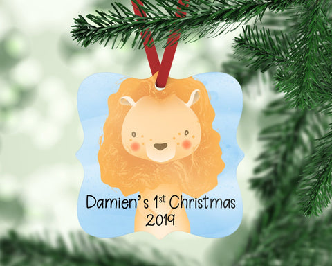 Personalized Lion Christmas Ornament