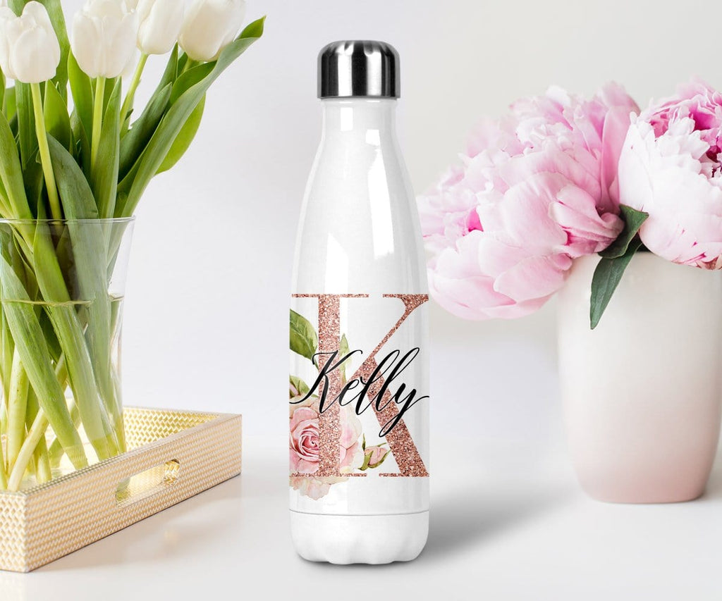 Rose Gold Water Bottle With Personalized Name Bridesmaid Proposal Gift