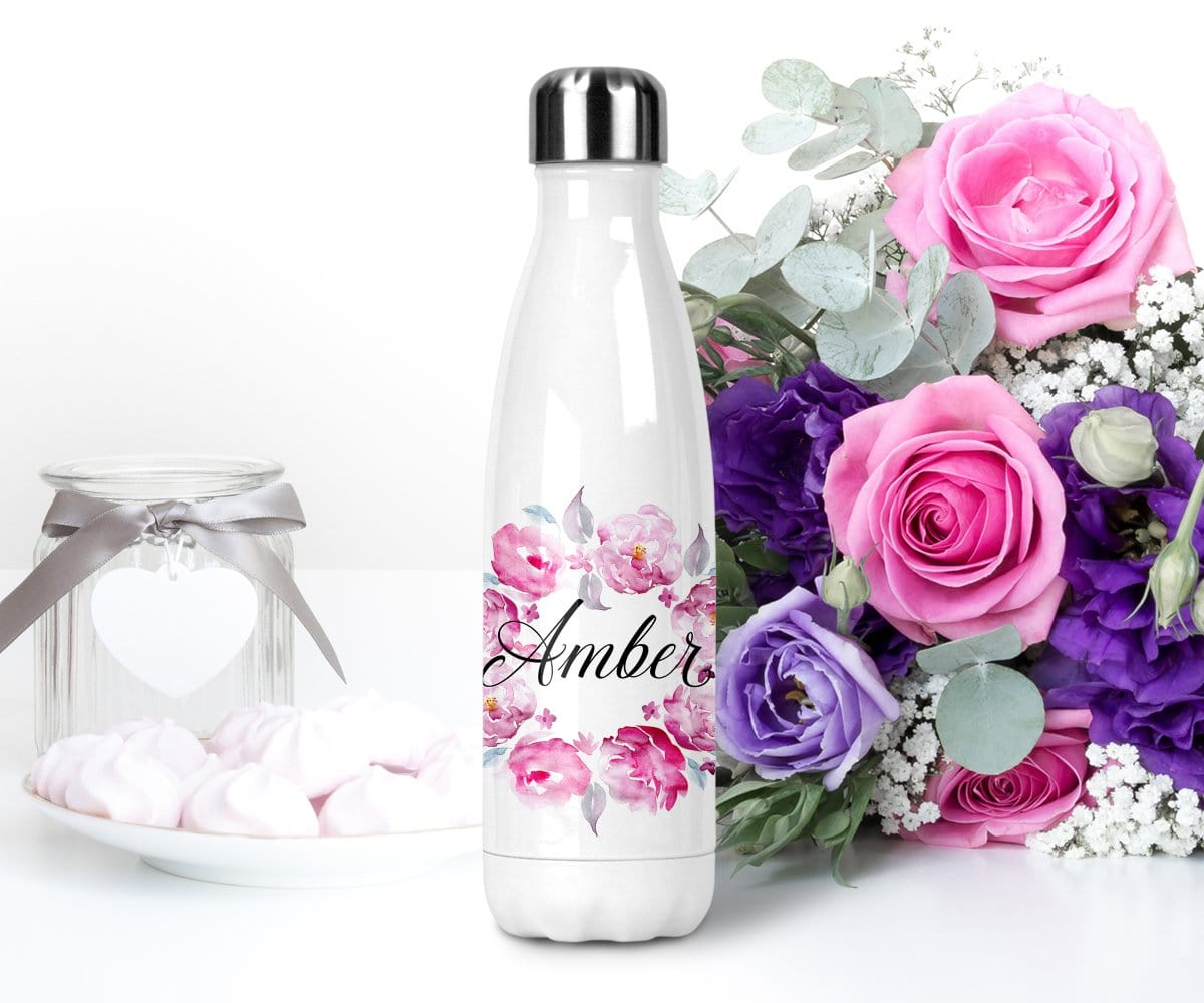 Pink and Purple Floral Wreath Personalized Name Insulated Water Bottle