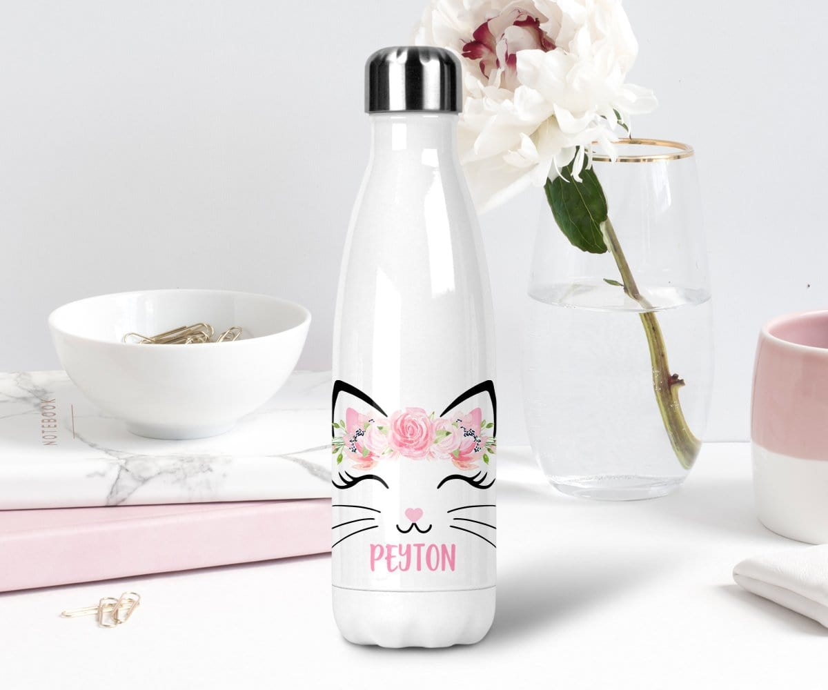 Cat Lover Gift Personalized Stainless Steel Water Bottle