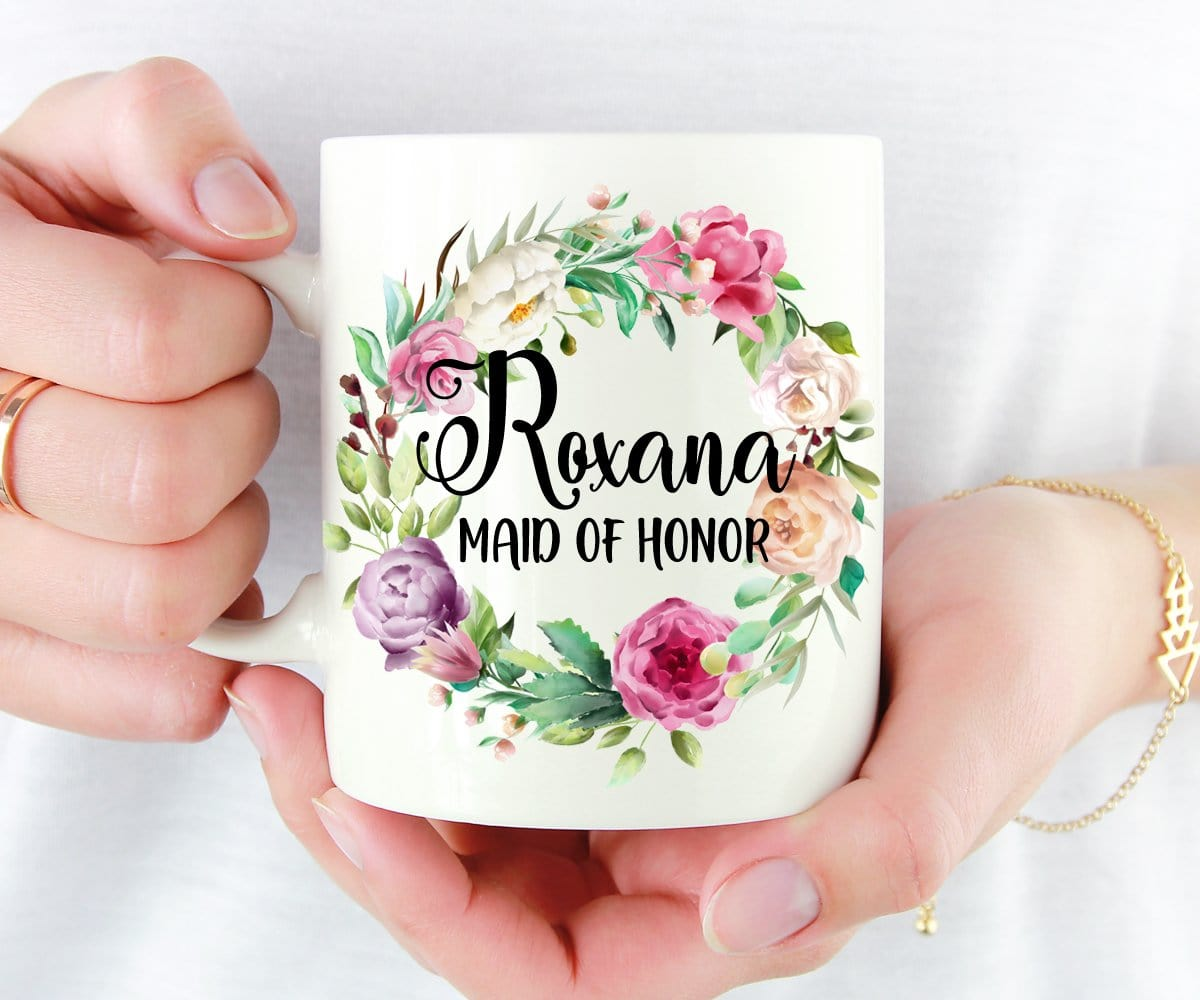 Personalized Maid of Honor Gift Floral Wreath Mug