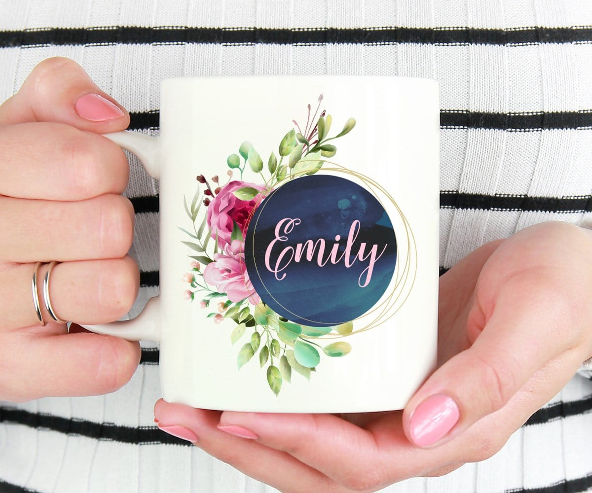 Custom Name Bridesmaid Floral Wreath Mug
