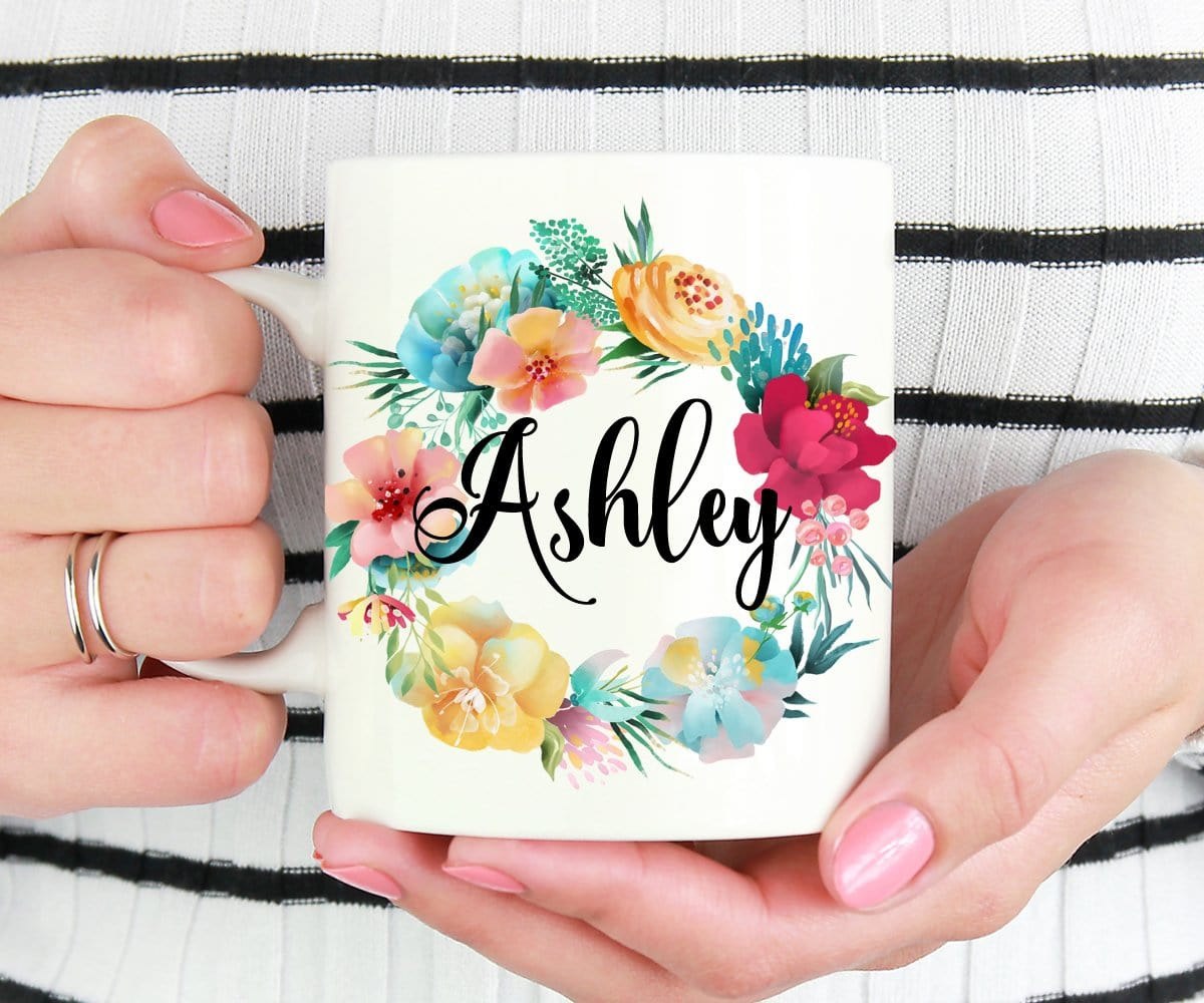 Personalized Blue Floral Mug Bridesmaid Proposal Gift