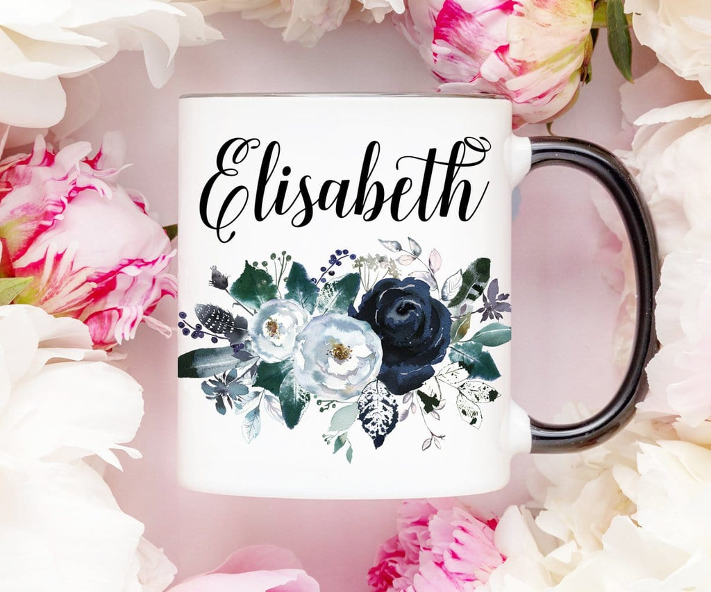 Navy Floral Personalized Coffee Mug
