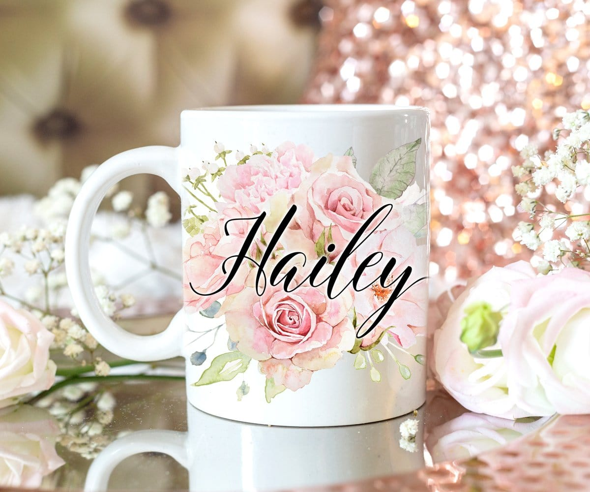 Custom Name Blush Pink Roses Mug