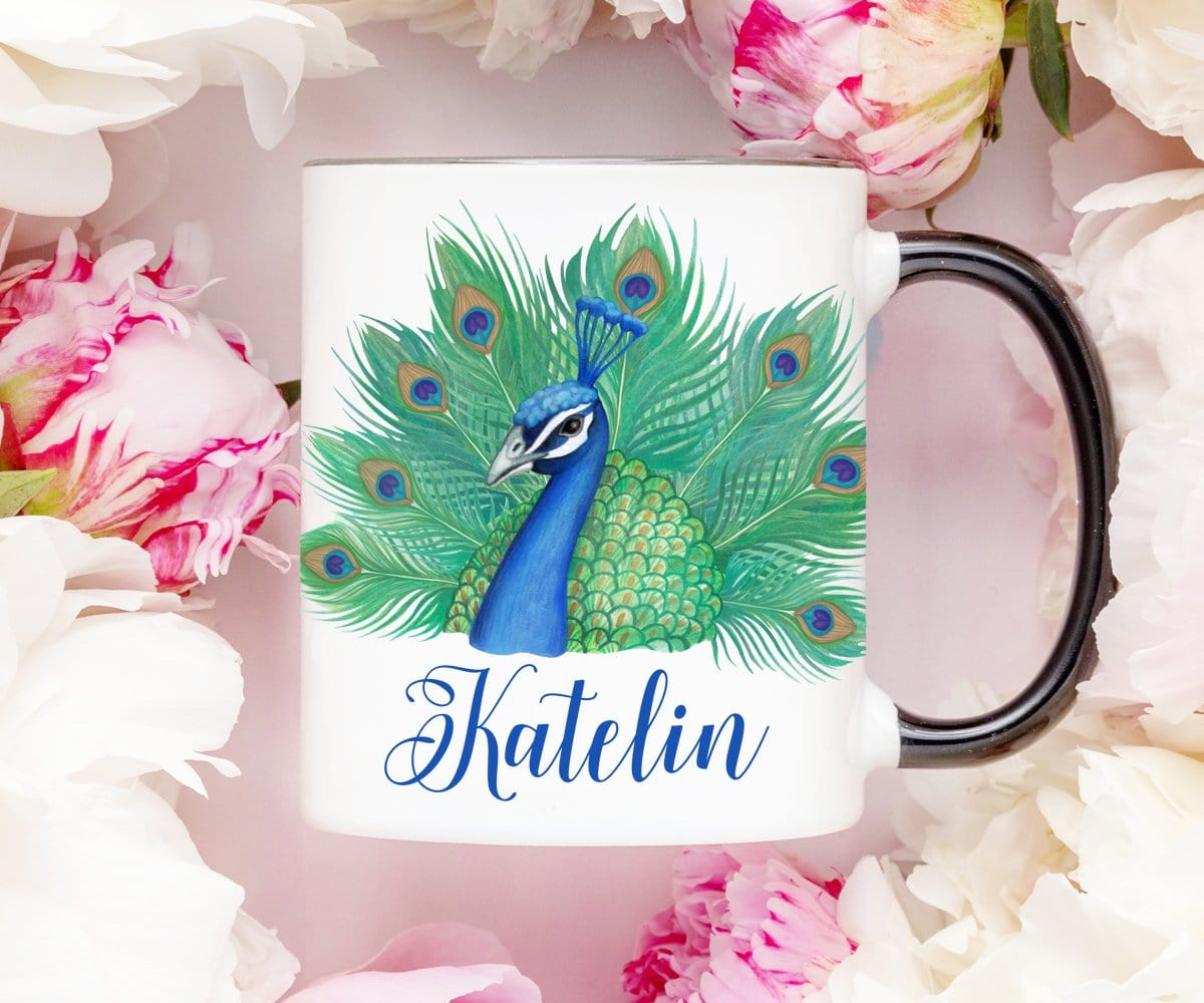 Personalized Peacock Coffee Mug