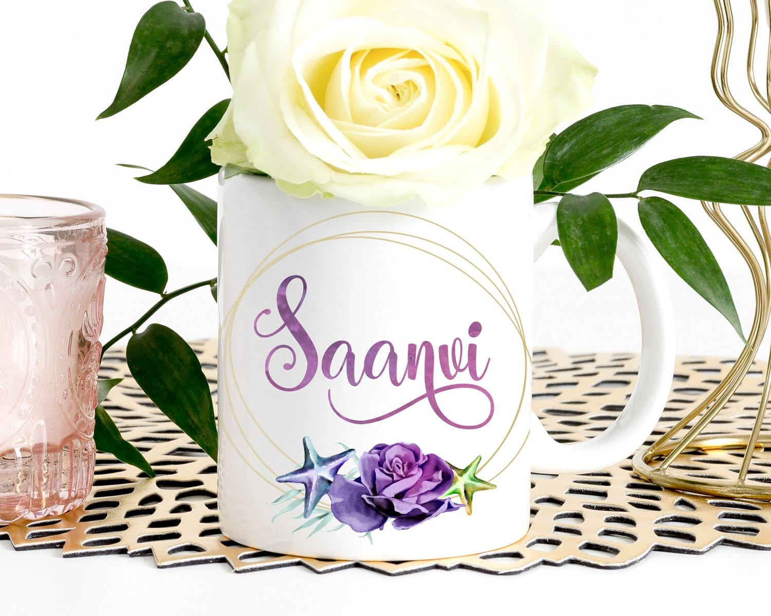 Personalized Name Floral Starfish Coffee Mug