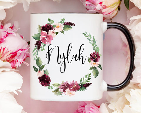 Burgundy Flowers Personalized Coffee Mug