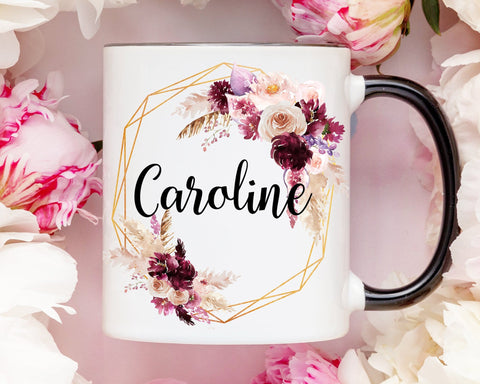 Geometric Flowers Boho Name Coffee Mug