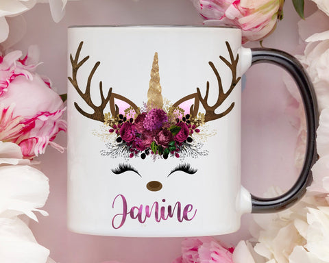 Personalized Christmas Unicorn Reindeer Mug