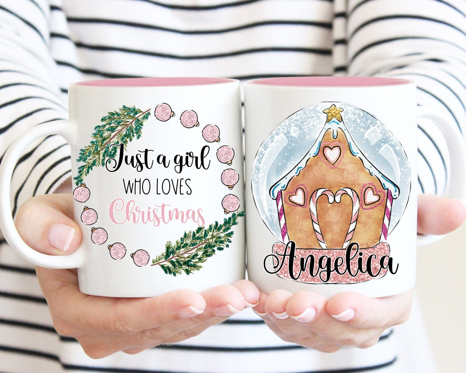 Just A Girl Who Loves Christmas Personalized Gingerbread House Mug