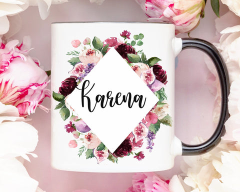 Custom Name Burgundy Flowers Coffee Mug