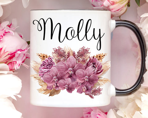 Custom Name Orchid Coffee Mug