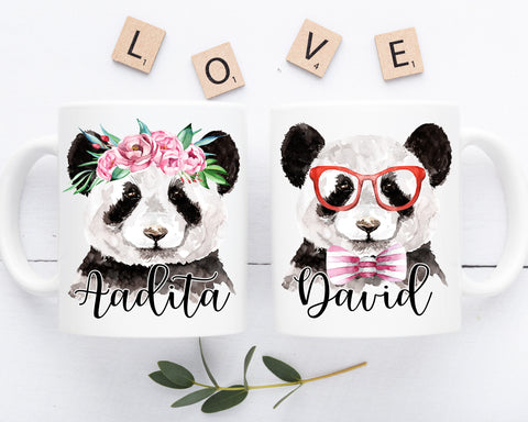 Panda Mugs Custom Couple Coffee Mug Set