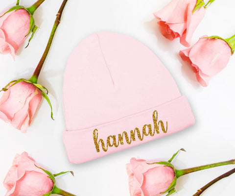 Personalized Baby Girl Hat Pink Newborn Coming Home Cap
