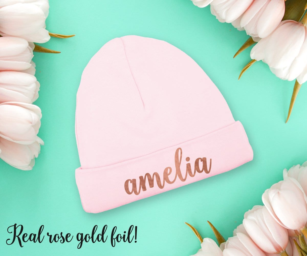 Rose Gold Baby Girl Hat Personalized Baby Shower Gift